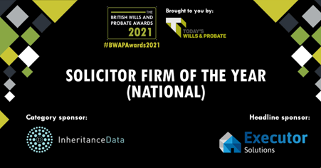 Inheritance Data announces sponsorship of Solicitor Firm Of the Year (National)